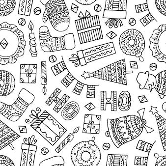 Decorações de natal doodle padrão sem emenda.