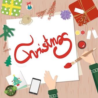 Decorações de natal. preparando-se para o cartão de natal.