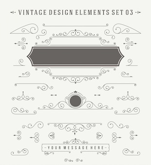 Decorações de ornamentos vintage projetar o conjunto de elementos.