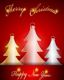 Decorações de ouro, prata e rosa de árvore de natal