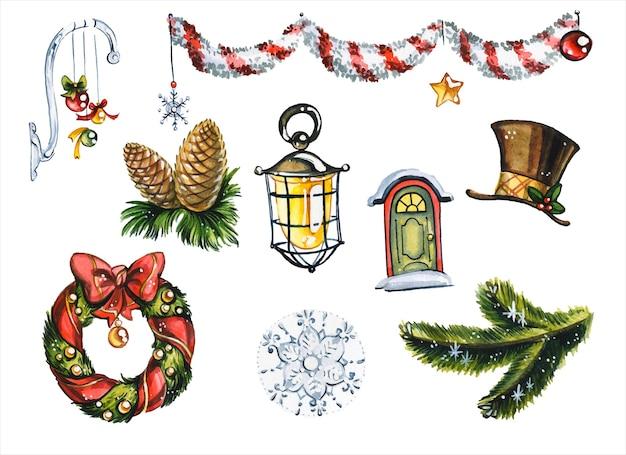 Decorações do feriado de natal mão desenhada conjunto de ilustrações em aquarela. brinquedos da árvore de ano novo, coroa de visco, galhos de pinheiro e festão em fundo branco. pintura de aquarelas de coleção de itens festivos