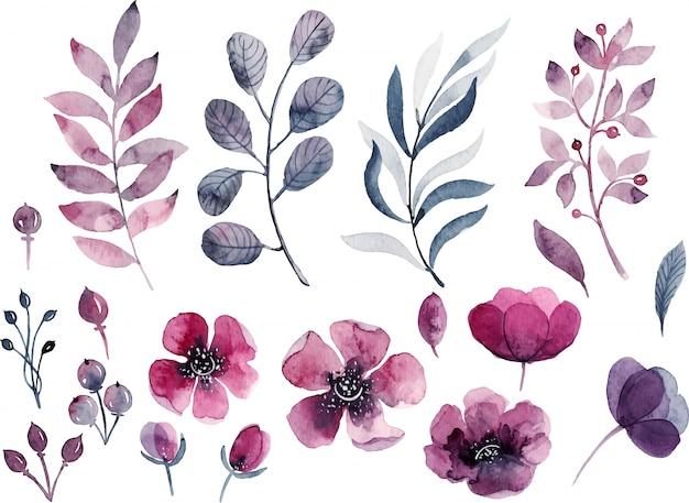 Decorações florais em aquarela