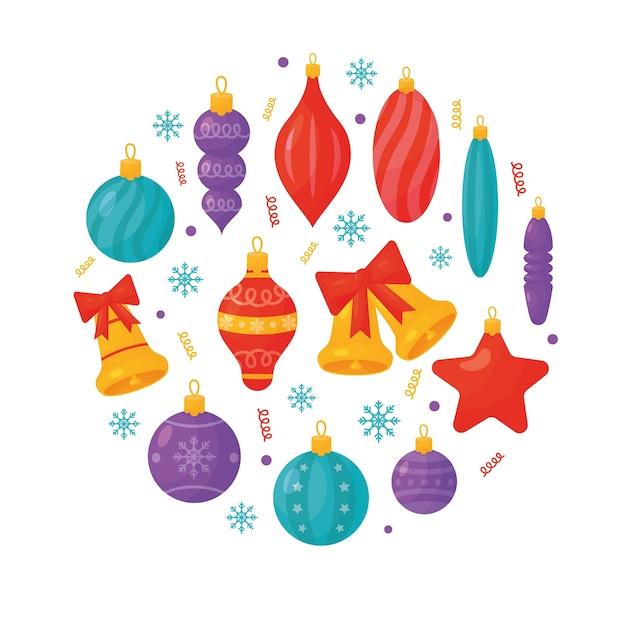 Decorações para árvores de natal em fundo branco. ilustração