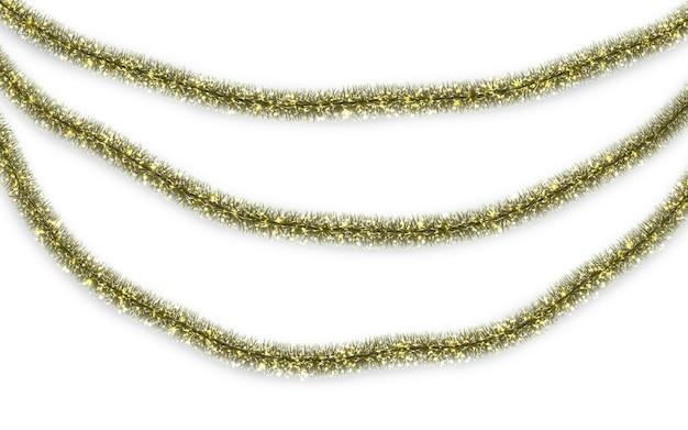 Decorações tradicionais de natal ou ano novo. guirlanda de enfeites de natal glitter pendurada. elemento de decoração.