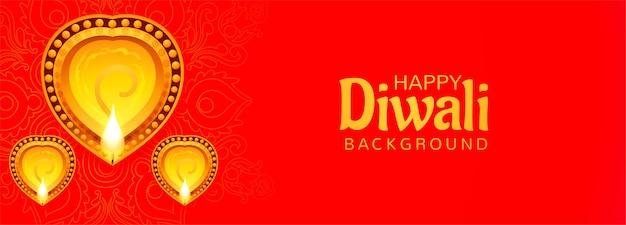 Decorado com fundo de banner de celebração de diwali lâmpadas a óleo iluminadas