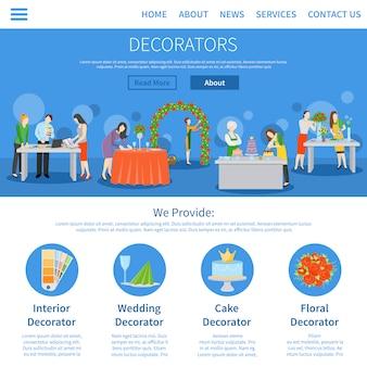 Decoradores profissionais design plano de uma página