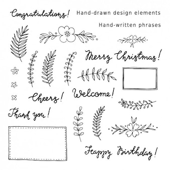 Decorativa coleção elementos e frases