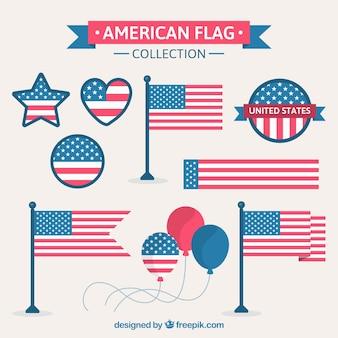 Decorativo, elementos, bandeira, unidas, estados