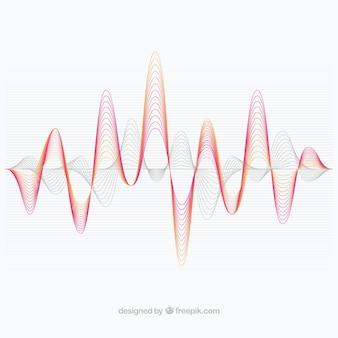 Decorativo fundo com ondas de som vermelho e cinza