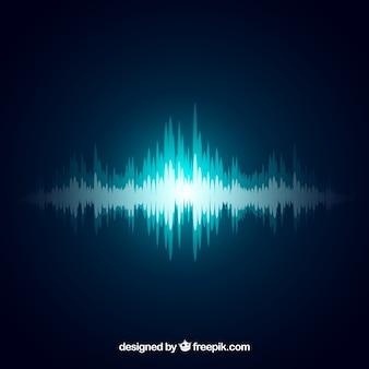 Decorativo fundo de ondas de som azul