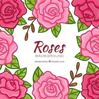 Decorativo fundo de rosas desenhadas mão