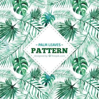 Decorativo, padrão, aguarela, palma, folhas