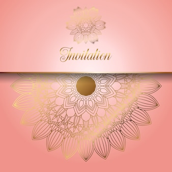 Decorativo rosa com ornamentos de ouro convite