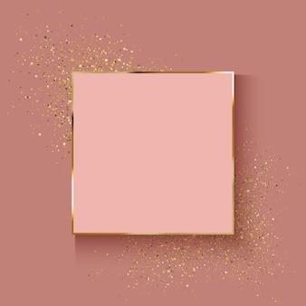 Decorativo rosa fundo dourado com efeito de glitter