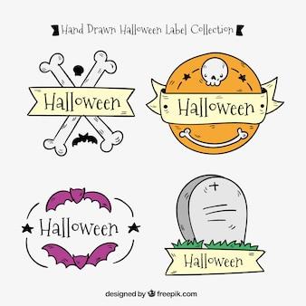 Decorativos do dia das bruxas adesivos desenhados à mão