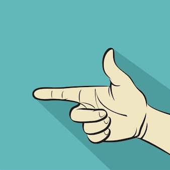 Dedo apontando, ilustração vetorial