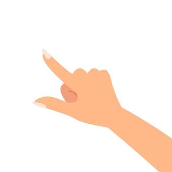 Dedo, apontar, mulher, mão, vetorial, ilustração