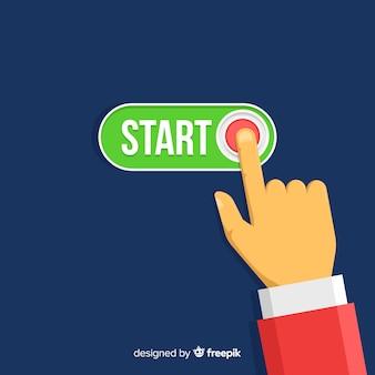 Dedo pressionando o botão iniciar verde