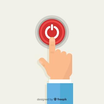 Dedo pressionando o botão iniciar vermelho no design plano