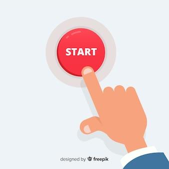 Dedo pressionando o botão iniciar Vetor Premium