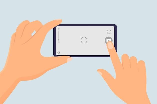 Dedo tocando a tela do smartphone para tirar uma foto ilustração vetorial