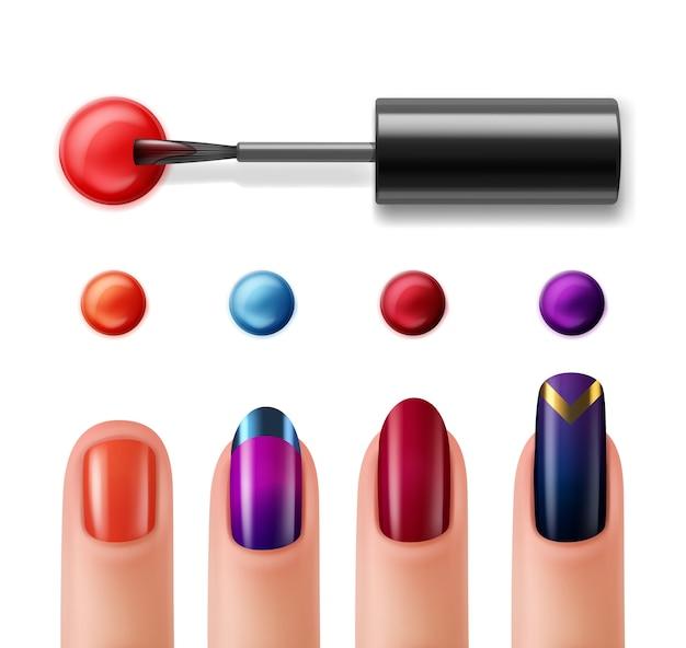 Dedos com manicure e esmalte colorido para unha