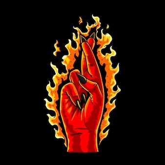 Dedos cruzados com chamas queimando em torno dele na mão desenhada