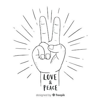 Dedos de paz clássico com estilo desenhado de mão