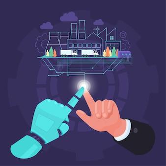 Dedos do homem e do robô se unem para controlar o processo de fábrica na indústria inteligente 4