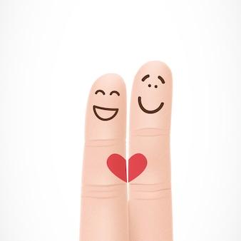 Dedos engraçados com rostos apaixonados