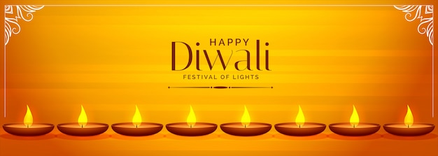 Deepawali banner amarelo com banner diya