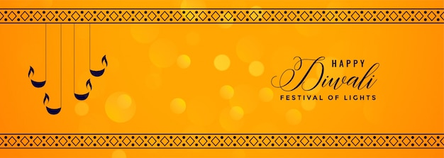 Deepawali banner amarelo com borda decorativa de diya e padrão