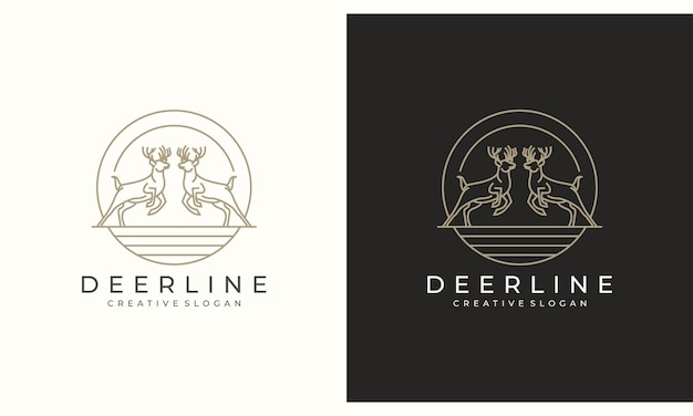 Deer antelope stag minimalista design de logotipo criativo