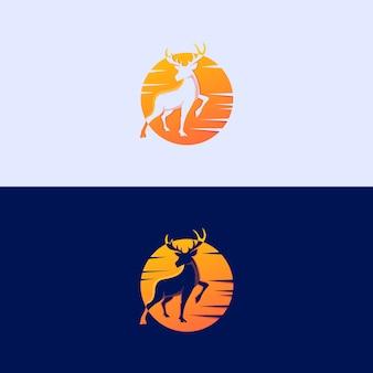 Deer sunset premium logo