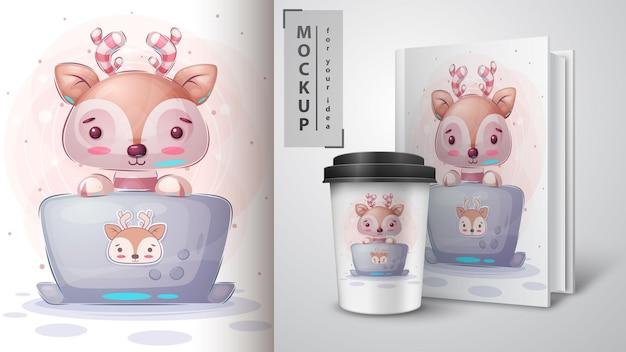Deer trabalha na ilustração e merchandising do notebook
