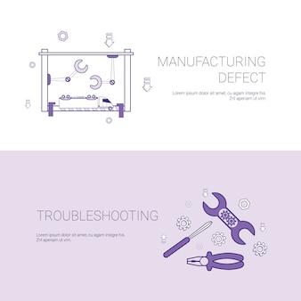 Defeito de fabricação e solução de problemas conceito modelo web banner com cópia espaço