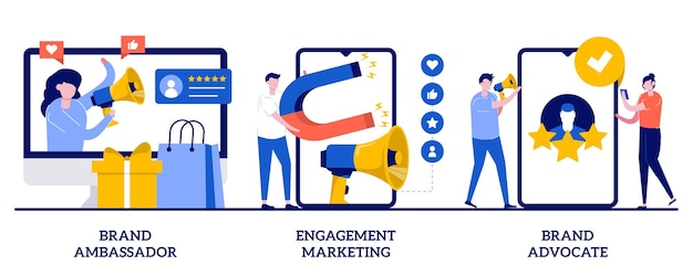 Defensor e embaixador da marca, conceito de marketing de engajamento com ilustração de pequenas pessoas