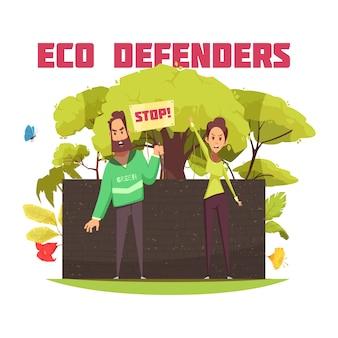 Defensores ecológicos cartoon composição