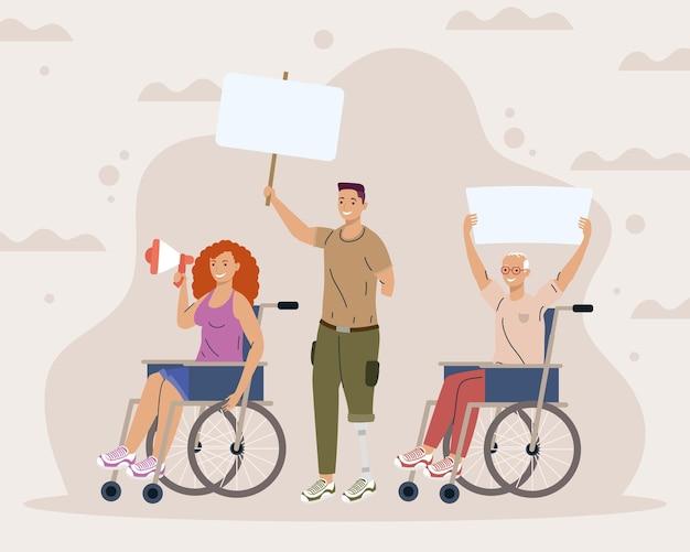 Deficiência três personagens protestando campanha