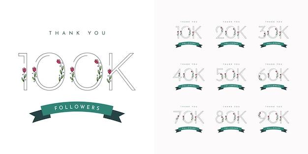 Defina 10k a 100k thak seu design de modelo de seguidores