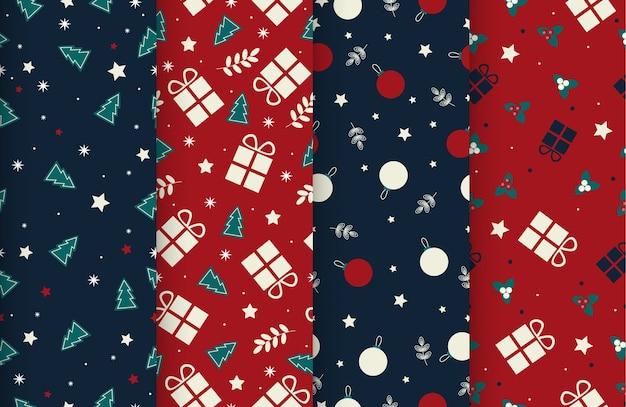 Defina 4 padrões fofos de inverno sem costura