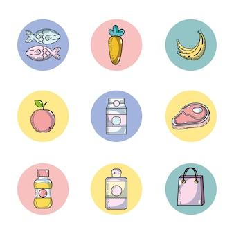 Defina a alimentação da variedade de supermercado para comprar ilustração vetorial
