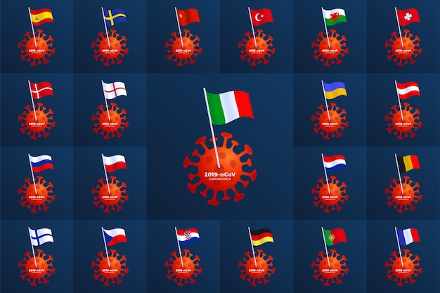 Defina a bandeira do país da europa fixada a um coronavírus. pare o surto de 2019-ncov. perigo de coronavírus e risco de saúde pública: doença e surto de gripe. conceito médico pandêmico com células perigosas