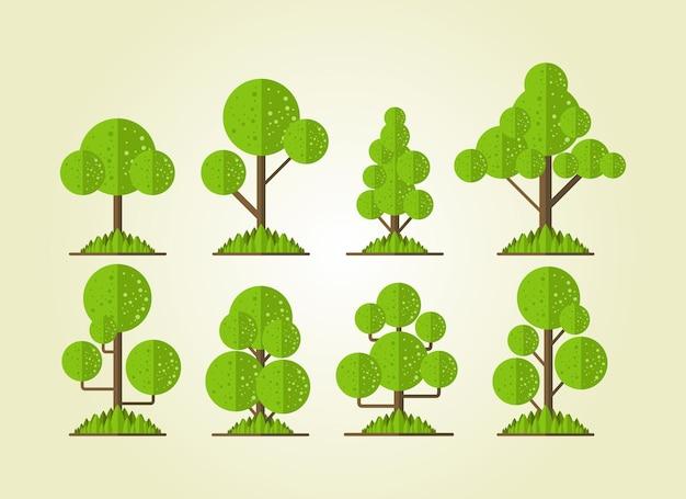 Defina árvores de desenhos animados bonitos e adequadas para uso em ambientes ambientais