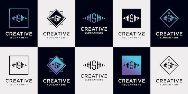 Defina as letras iniciais da coleção de design de logotipo de música com conceito exclusivo premium vector