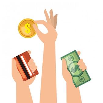 Defina as mãos dinheiro em dinheiro crédito isolado