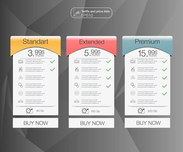 Defina banners de tarifas. tabela de preços da web. para web ou aplicativo.