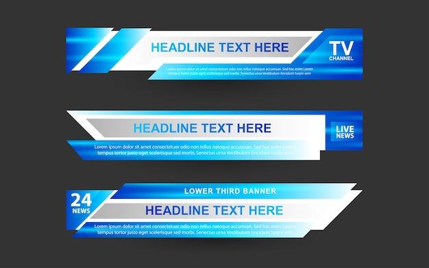 Defina banners e terços inferiores para canais de notícias com as cores azul e branco