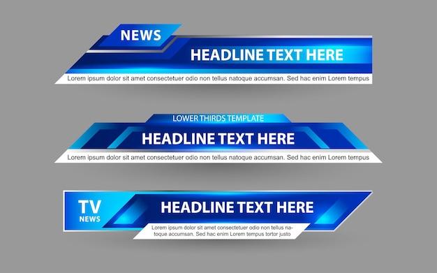 Defina banners e terços inferiores para canais de notícias com cor branca e azul