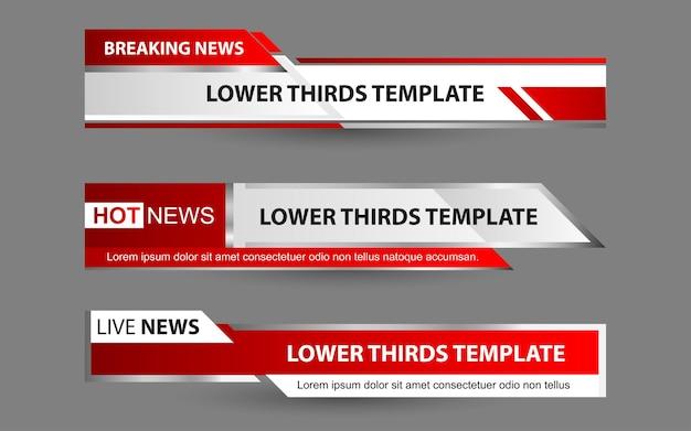 Defina banners e terços inferiores para canais de notícias com cor branca e vermelha